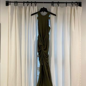 Apricot lane olive green ruched bodycon dress